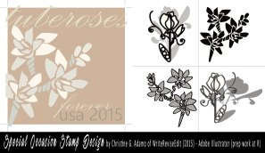 Original Stamp Design created in Illustrator, using the pen tool and other features, by Christine G. Adamo of WriteReviseEdit.com